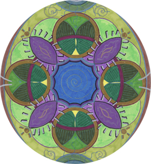 Green & Purple Mandala by Holly Burger, Marker on Paper