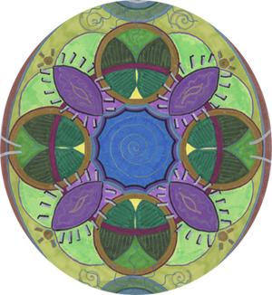 Green & Purple Mandala by Holly Burger, Marker on Paper