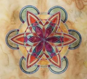Purple/Orange Mandala, watercolor